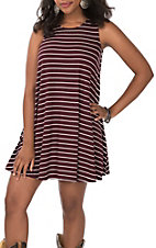 Wishlist Women's Burgundy and White Stripes Sleeveless Keyhole Back Sleeveless Knit Tank Dress