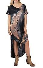 Wishlist Women's Navy Blue Tie Dye Maxi Dress