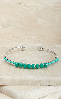 Silver Strike Silver with Turquoise Beads Cuff Bracelet