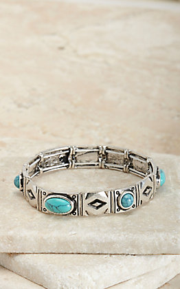 Silver Strike Silver Aztec with Turquoise Stones Stretch Bracelet