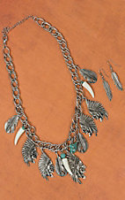 Silver Indian Head with Feathers Necklace & Earring Set