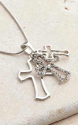 Silver Strike Triple Cross Necklace
