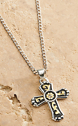 Silver Strike Men's Silver and Gold Cross Pendant Necklace