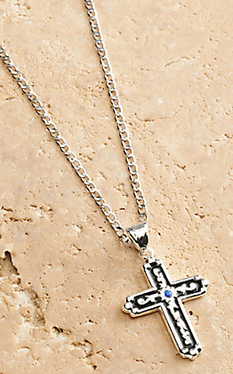 Silver Strike Men's Silver and Black Cross Pendant Necklace