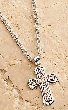 Silver Strike Men's Silver and Rose Gold Floral Engraved Cross Pendant Necklace