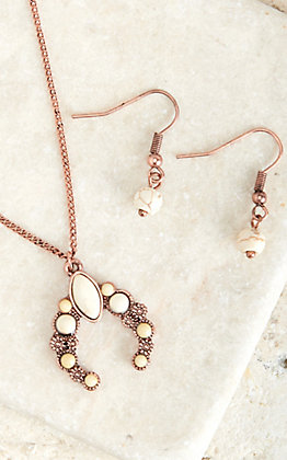 Blazin Roxx Copper and Ivory Squash Blossom Necklace and Earring Set