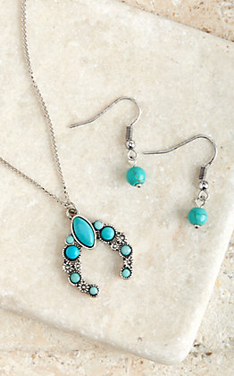 Blazin Roxx Silver and Turquoise Squash Necklace and Earring Set