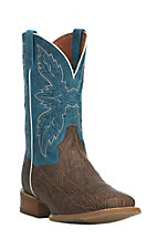 Dan Post Men's Chocolate with Blue Upper Squar Toe Western Boots