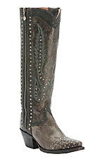 Dan Post Women's Dark Taupe Floral Embossed with Studs & Zipper Snip Toe Western Boots