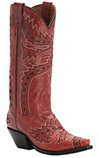 Dan Post Ladies Red Lipstick Volcano Sidewinder Snip Toe Western Boots