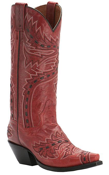 f15d57f7c8f Dan Post Women's Red Lipstick Volcano Sidewinder Snip Toe Western Boots