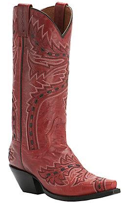 Dan Post Ladies Red Lipstick Volcano Sidewinder Snip Toe Western Boots