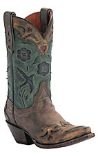 Dan Post Ladies Sanded Copper w/ Turquoise Blue Bird Top Snip Toe Western Boots