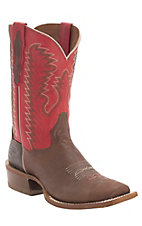 Dan Post Men's Chocolate w/ Red Top Double Welt Cutter Toe Western Boots