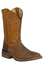 Dan Post Men's Distressed Tan w/ Spice Top Double Welt Broad Square Toe Western Boots