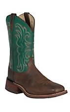 Dan Post Men's Distressed Brown w/ Green Top Double Welt Broad Square Toe Western Boots