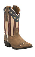 Dan Post Youth Distressed Tan with Stars & Stripes Snip Toe Western Boots