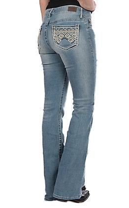 Dear John Women's Mistwood Diamonds Light Wash Boot Cut Jeans