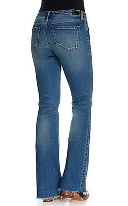Dear John Women's Rosie Medium Wash Distressed Flare Leg Jeans