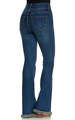 Dear John Women's Sadie Medium Wash High Rise Frayed Flare Leg Jeans