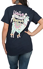 Girlie Girl Originals Women's Navy Drama Llama S/S T-Shirt