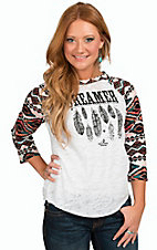 Ali-Dee Collection Women's White Dreamer 3/4 Aztec Raglan Sleeve Top
