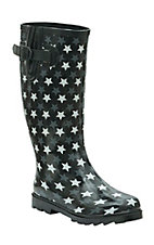 Twisted Rainboots Women's Drizzy Black with Grey & White Stars Round Toe Rain Boots