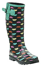 Twisted Rainboots Women's Drizzy Black with Multicolor Umbrella Print Round Toe Rain Boots