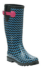 Twisted Rainboots Women's Drizzy Black & Blue Chevron Round Toe Rain Boots