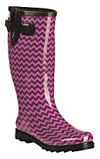 Twisted Rainboots Women's Drizzy Pink & Purple Chevron Round Toe Rain Boots