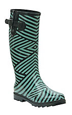 Twisted Rainboots Women's Drizzy Black & Teal Geo Pattern Round Toe Rain Boots