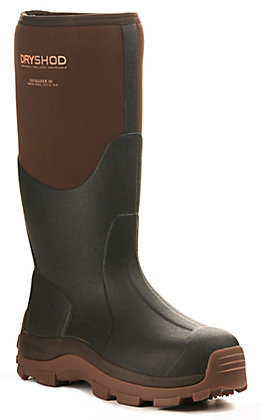 Dryshod Men's Haymaker Black and Brown Waterproof Round Toe Rubber Farm Boots