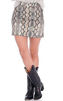 Peach Love Women's Snake Print Mini Skirt