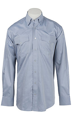 Cinch Miller Ranch Men's Solid Blue Long Sleeve Western Shirt