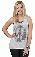 Miss Me Women's Vintage Grey with Rose Wreath Peace Sign Tank