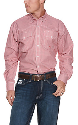 Cinch Miller Ranch Men's Red Plaid Long Sleeve Western Shirt