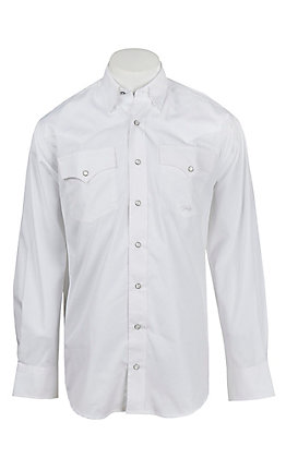 Cinch Miller Ranch Men's Solid White Long Sleeve Western Shirt