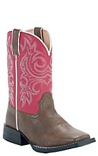 Durango Kid's Brown w/ Pink Top Square Toe Western Boots