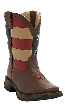 Durango Lil Durango Youth Brown and USA Flag Square Toe Western Boots