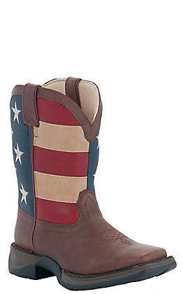 Durango Lil Durango Kids Brown and USA Flag Square Toe Western Boots