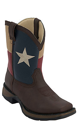 Durango Lil Durango Youth Dark Brown and Texas Flag Square Toe Western Boots