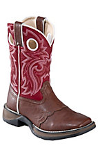 Durango Kid's Chestnut Brown w/ Red Saddle Vamp Square Toe Western Boots