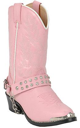 Durango Kids Pink with Rhinestone Strap Western Boots