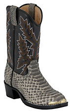 Durango Childrens Natural White / Black Snake Print Western Boots