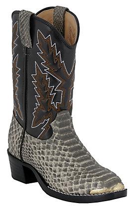 Durango Children's Natural White / Black Snake Print Western Boots