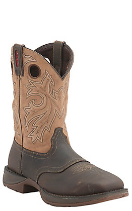 Durango Rebel Men's Distressed Brown with Tan Top Square Steel Toe Waterproof Western Boots