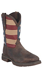 Durango Rebel Men's Distressed Brown w/ American Flag Top Square Steel Toe Western Boots