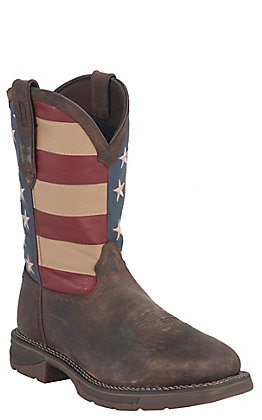 Durango Men's Rebel Distressed Brown and American Flag Square Steel Toe Work Boot