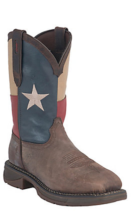 Durango Rebel Mens Distressed Brown with Texas Flag Top Square Steel Toe Western Boots
