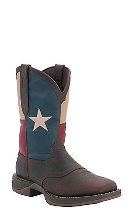 Durango Rebel Men's Saddle Brown with Texas Flag Top Square Toe Western Boots